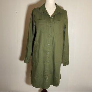 Prana Yarrow Cargo Green Utility Shirtdress